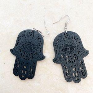 Boho Statement Wooden Hamsa Earrings